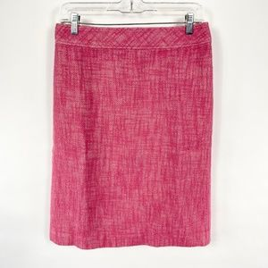 Talbots Pink Tweed Pencil Skirt Cotton Linen